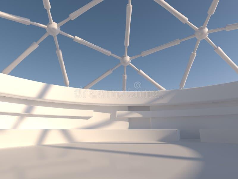 抽象现代建筑学背景 3d翻译 免版税库存图片