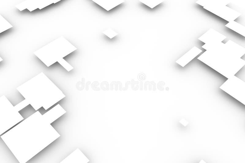 抽象现代空白的软的白色&灰色背景 黑色、想象力、形状&透视 库存例证