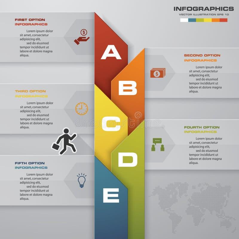 抽象现代5步过程 Simple&Editable摘要设计元素 向量例证
