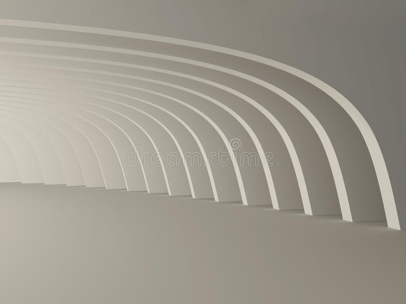 抽象现代内部,走廊whith专栏 3d 向量例证