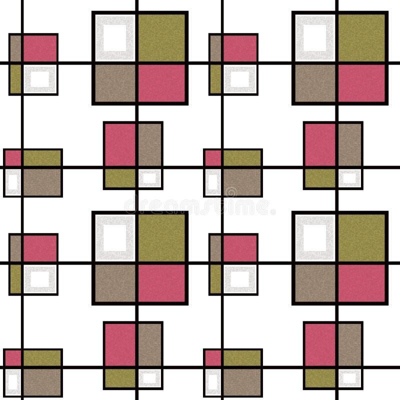 抽象现代正方形无缝的样式纹理减速火箭的backgroun 库存例证