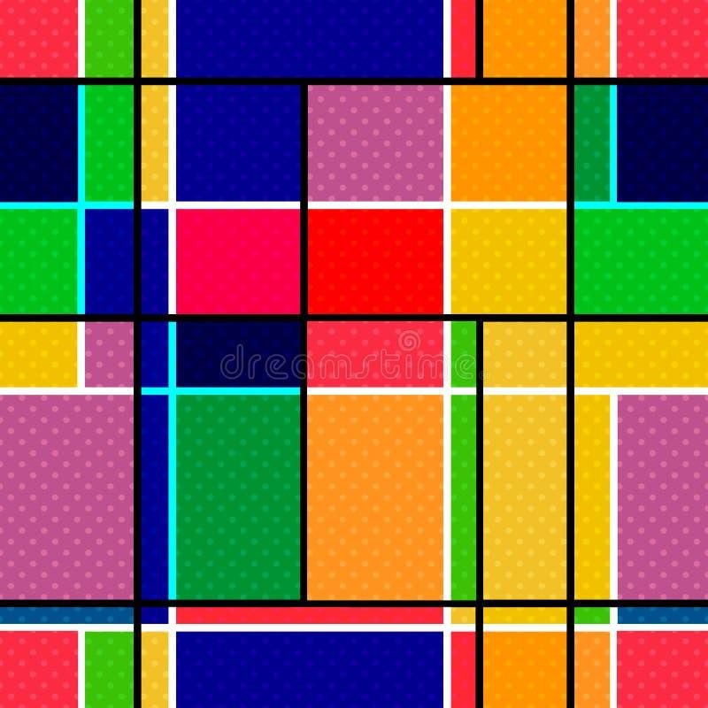 抽象现代正方形无缝的样式纹理明亮的颜色 皇族释放例证