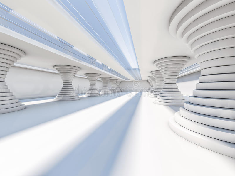 抽象现代建筑学背景,空的白色露天场所 皇族释放例证
