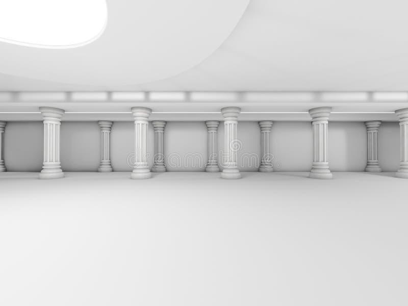 抽象现代建筑学背景,空的白色露天场所 向量例证