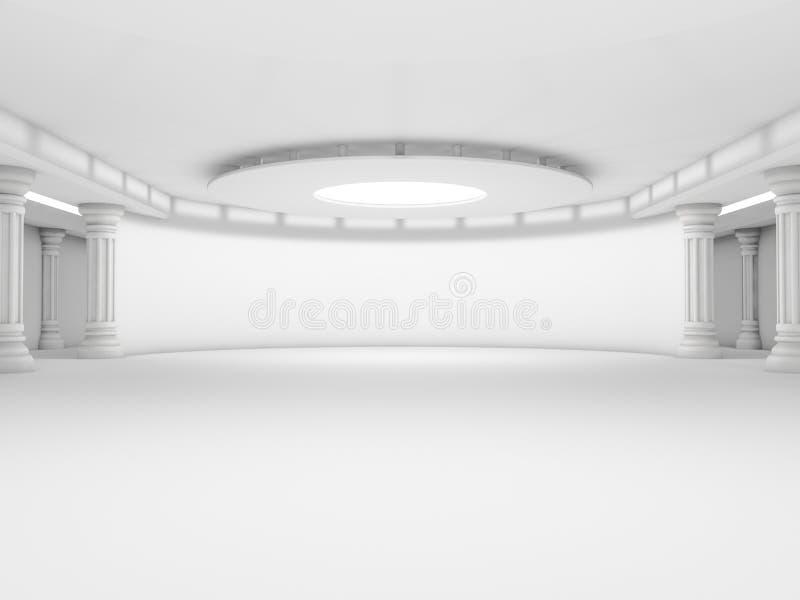 抽象现代建筑学背景,空的白色露天场所 库存例证