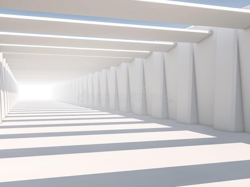 抽象现代建筑学背景,空的白色露天场所 免版税库存照片