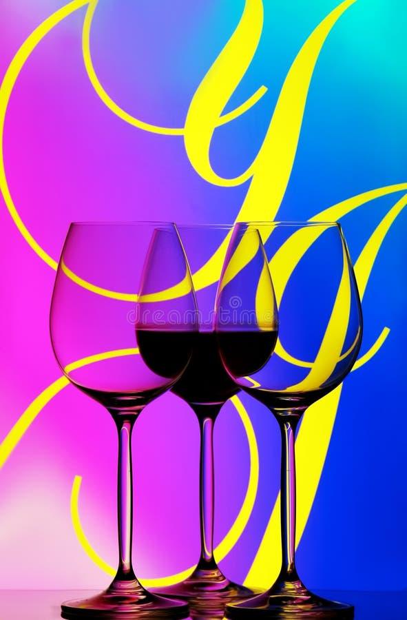 抽象玻璃三酒 免版税图库摄影