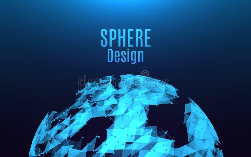 抽象球形爆炸 未来派被毁坏的发光的球形 明亮的三角和小点在蓝色背景 时髦 皇族释放例证