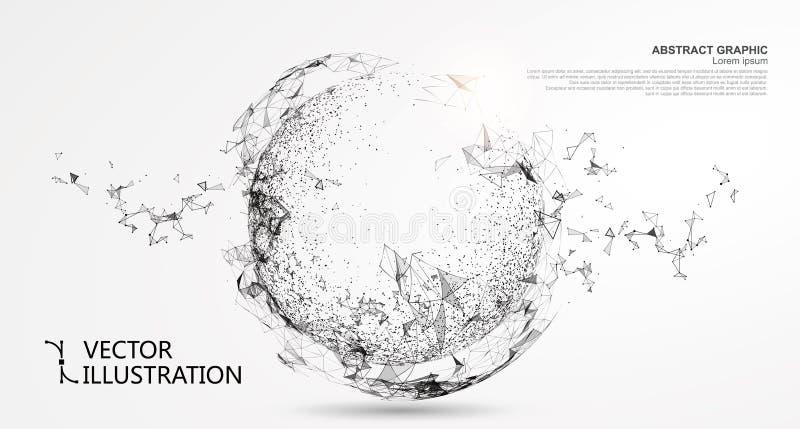 抽象球形,互联网连接 向量例证