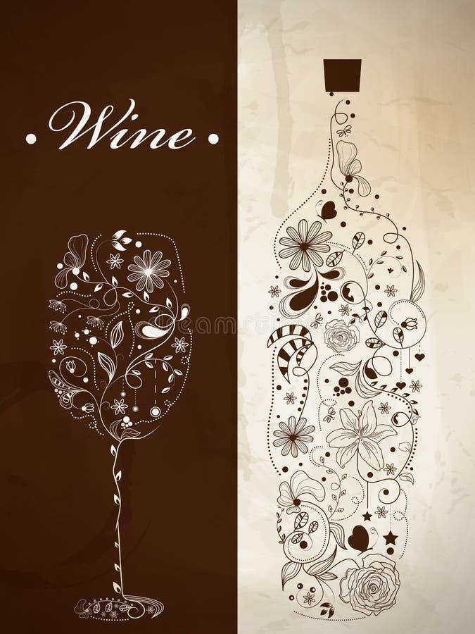 抽象瓶酒 库存例证