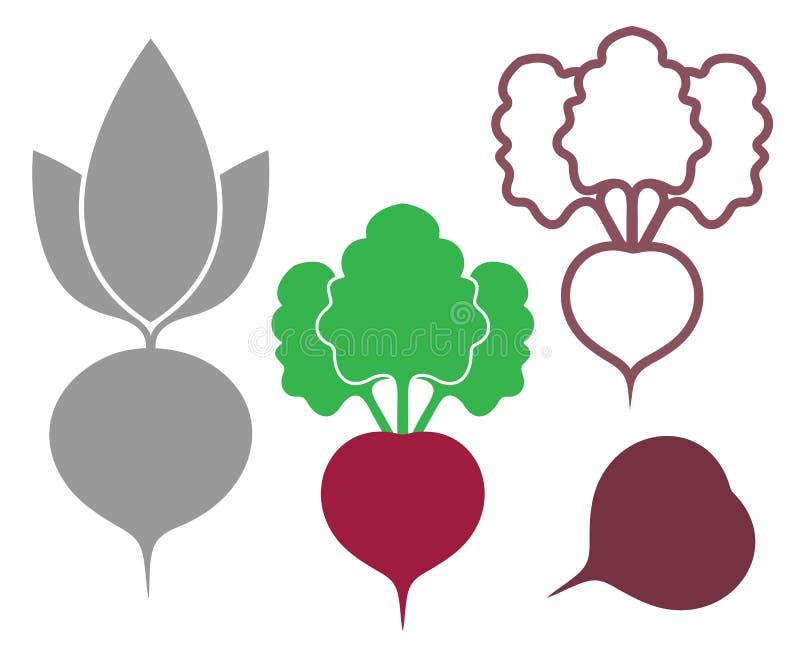 抽象甜菜 分级显示 剪影 图标 皇族释放例证