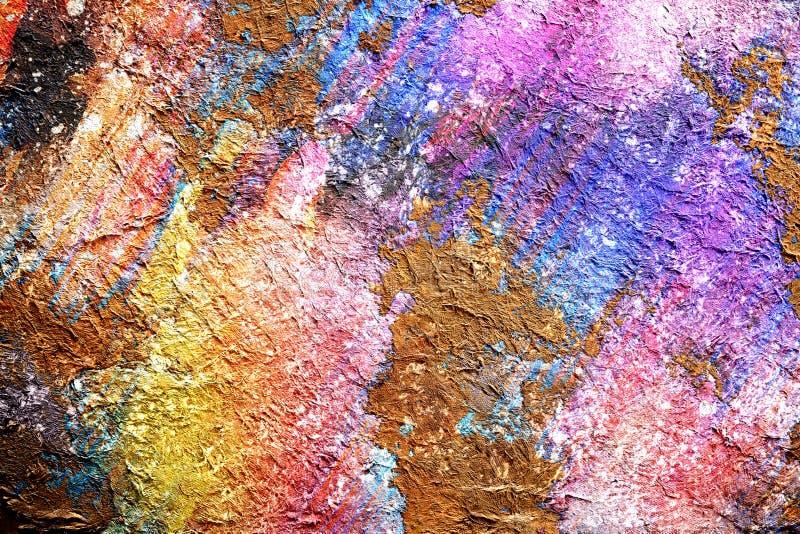 抽象由数字刷子技术的绘画拉长的水彩背景,与水彩样式完整色彩的纹理的墙纸 皇族释放例证