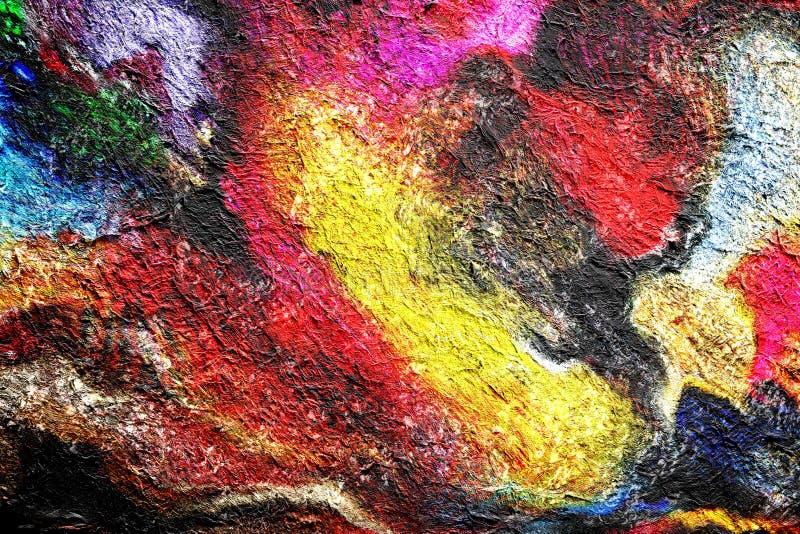 抽象由数字刷子技术的绘画拉长的水彩背景,与水彩样式完整色彩的纹理的墙纸 向量例证