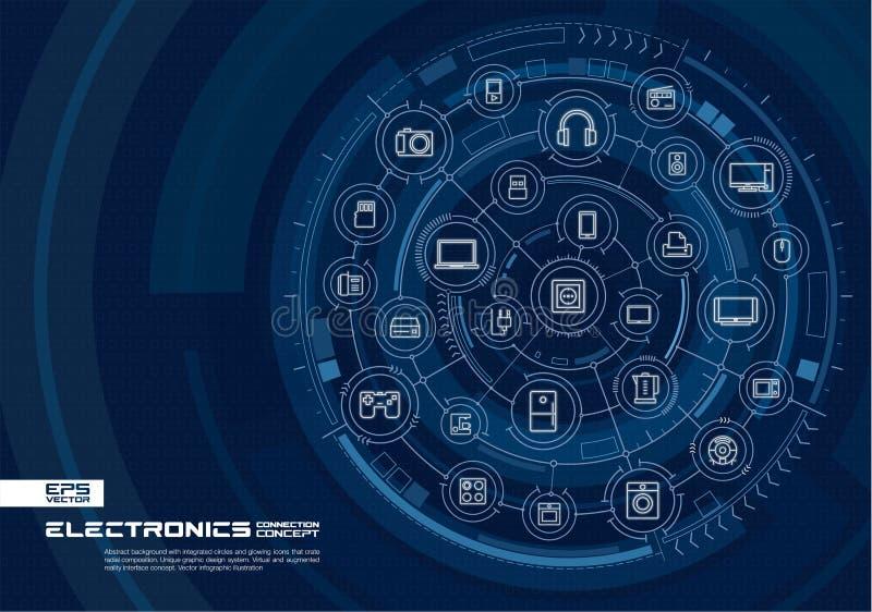 抽象电子技术背景 数字式用联合圈子连接系统,发光的稀薄的线象 皇族释放例证