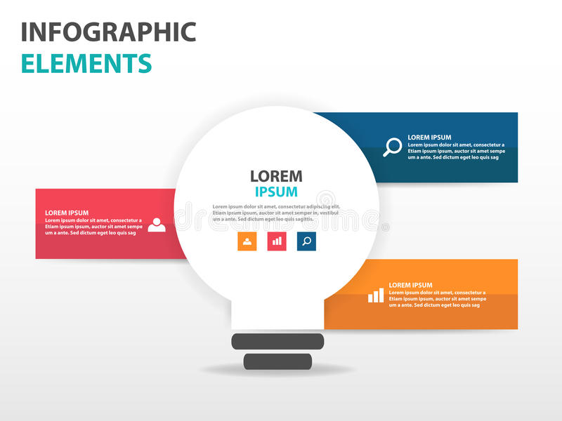 抽象电灯泡企业Infographics元素,网络设计行销的介绍模板平的设计传染媒介例证 皇族释放例证