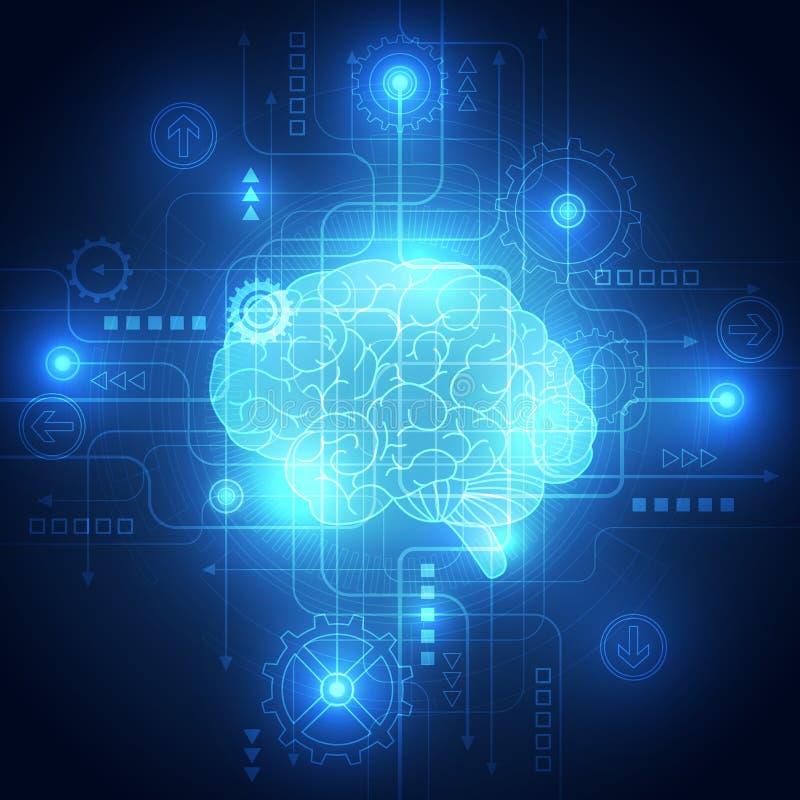 抽象电路数字式脑子,技术概念 皇族释放例证