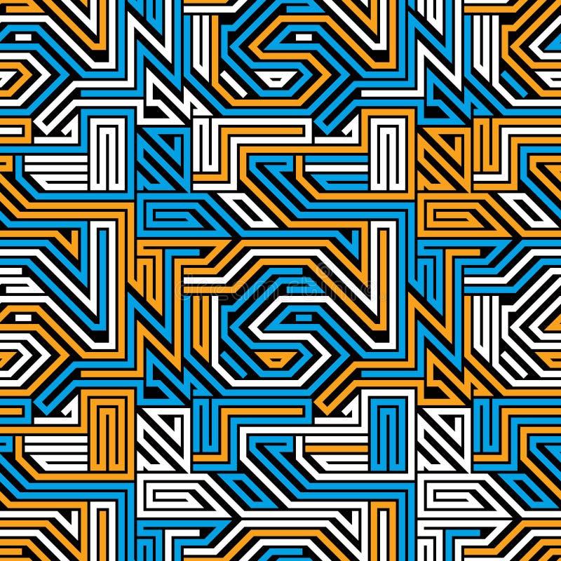 抽象电路板无缝的样式,几何传染媒介backgr 皇族释放例证
