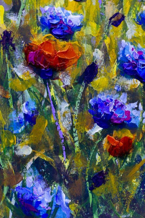 抽象画布五颜六色的用花装饰的油原始绘画 鸦片花和矢车菊例证 向量例证