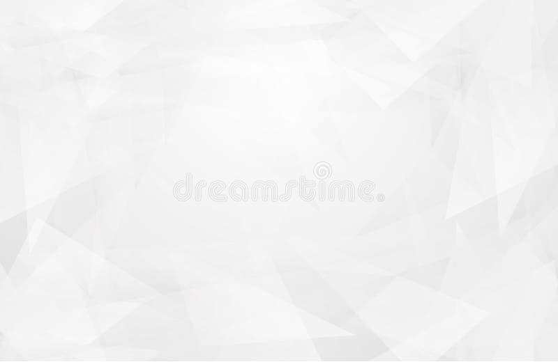 抽象白色内部突出未来 灰色背景,与拷贝空间的Lowpoly背景 白皮书现代多角形backgro 库存例证