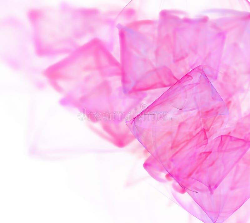 抽象白色分数维背景 桃红色和紫色方形的啪答声 向量例证
