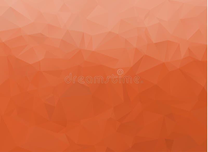 抽象白色和橙色多角形背景 多色低多梯度背景 水晶多角形背景 皇族释放例证