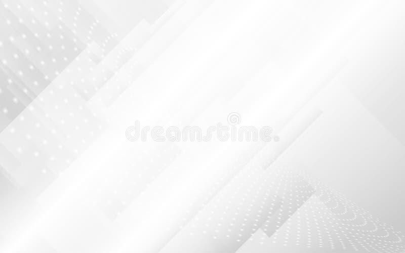 抽象白色和灰色现代几何形状有未来派概念背景 库存例证