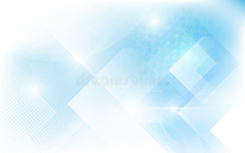 抽象白色和软的蓝色三角形状 半音现代明亮的艺术和未来派概念背景 向量例证