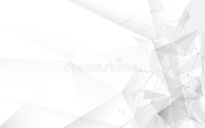 抽象白色尖叉多角形与被连接的线和小点模板 技术,科学背景 库存例证