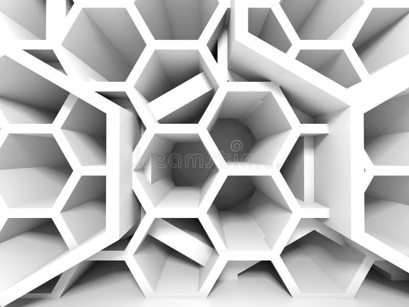 抽象白色蜂窝结构 3d背景 向量例证