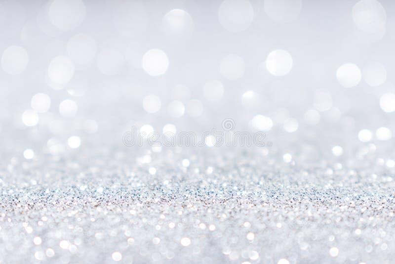 抽象白色银色闪烁闪闪发光背景 库存图片