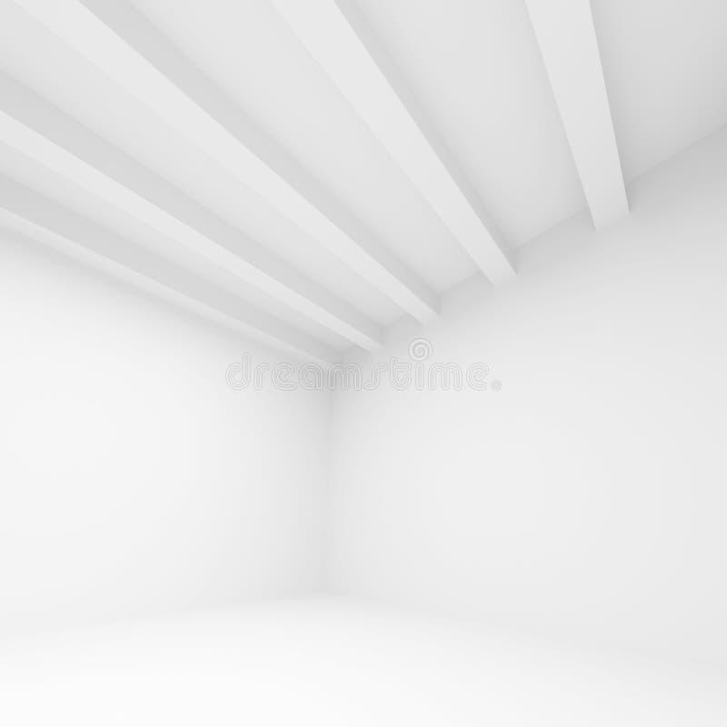 抽象白色建筑学背景, 3d室 向量例证