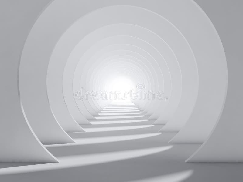 抽象白色3d圆的隧道内部 库存例证