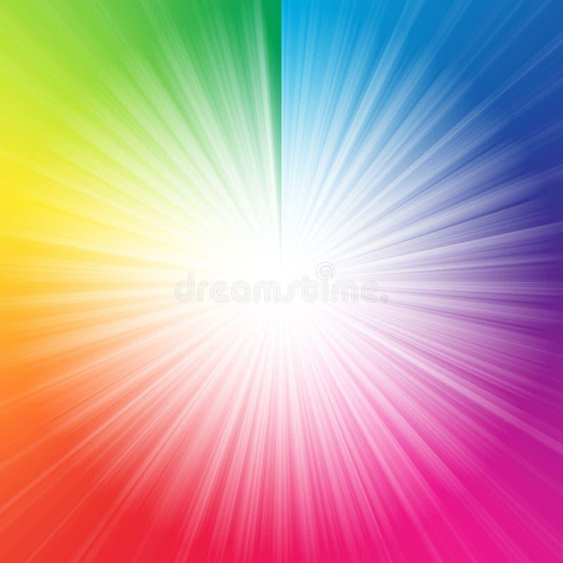 抽象白色starburst五颜六色的背景 库存例证