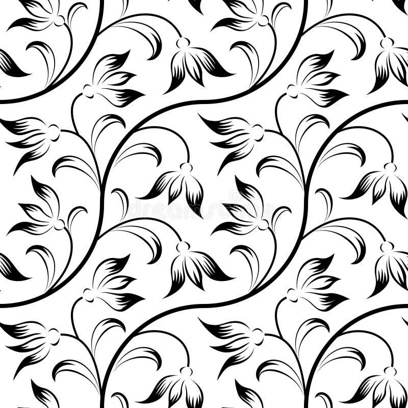 抽象百合,花卉黑色查出的无缝 库存例证
