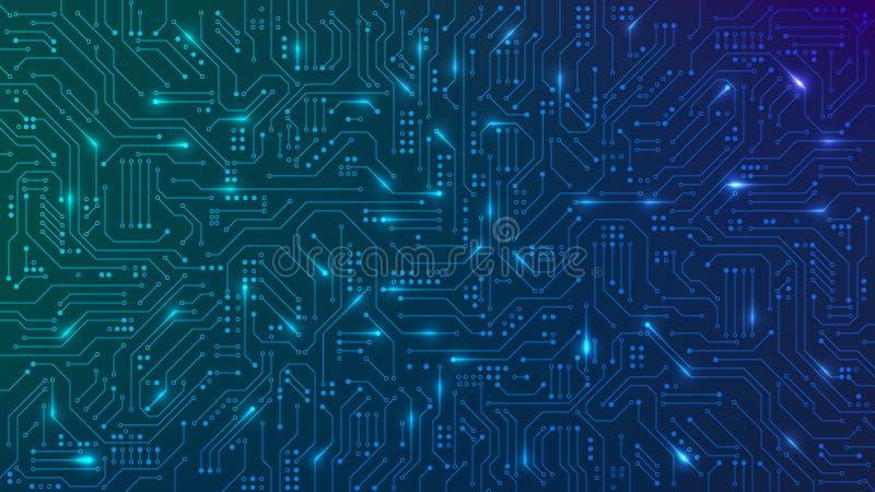 抽象的未来主义电路板 高计算机技术蓝色背景 高科技数字技术概念 矢量