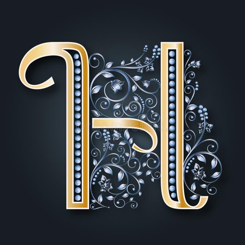 抽象看板卡例证婚礼 传染媒介信件H 在黑暗的背景的金黄字母表 一个优美的纹章学标志 组合图案的最初 库存例证