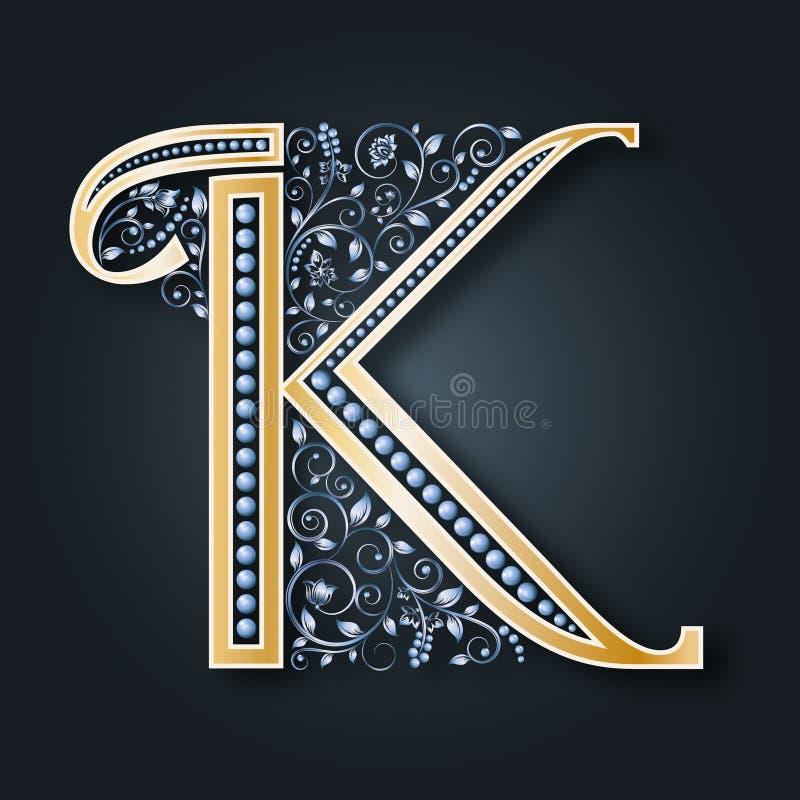 抽象看板卡例证婚礼 传染媒介信件K 在黑暗的背景的金黄字母表 一个优美的纹章学标志 组合图案的最初 库存例证