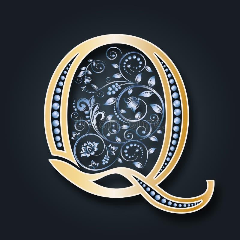 抽象看板卡例证婚礼 传染媒介信件Q 在黑暗的背景的金黄字母表 一个优美的纹章学标志 组合图案的最初 皇族释放例证