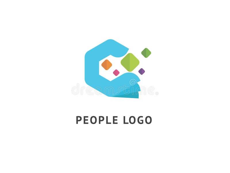 抽象社区商标象传染媒介设计 创造性的机构,社会服务,配合,事务,给传染媒介商标做广告 r 向量例证
