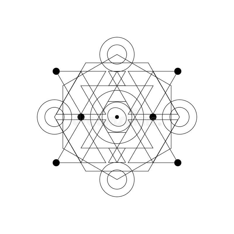 抽象神秘的几何标志 导航线性方术,隐密和哲学标志 向量例证
