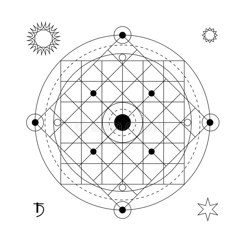 抽象神秘的几何标志 导航线性方术,隐密和哲学标志 库存例证