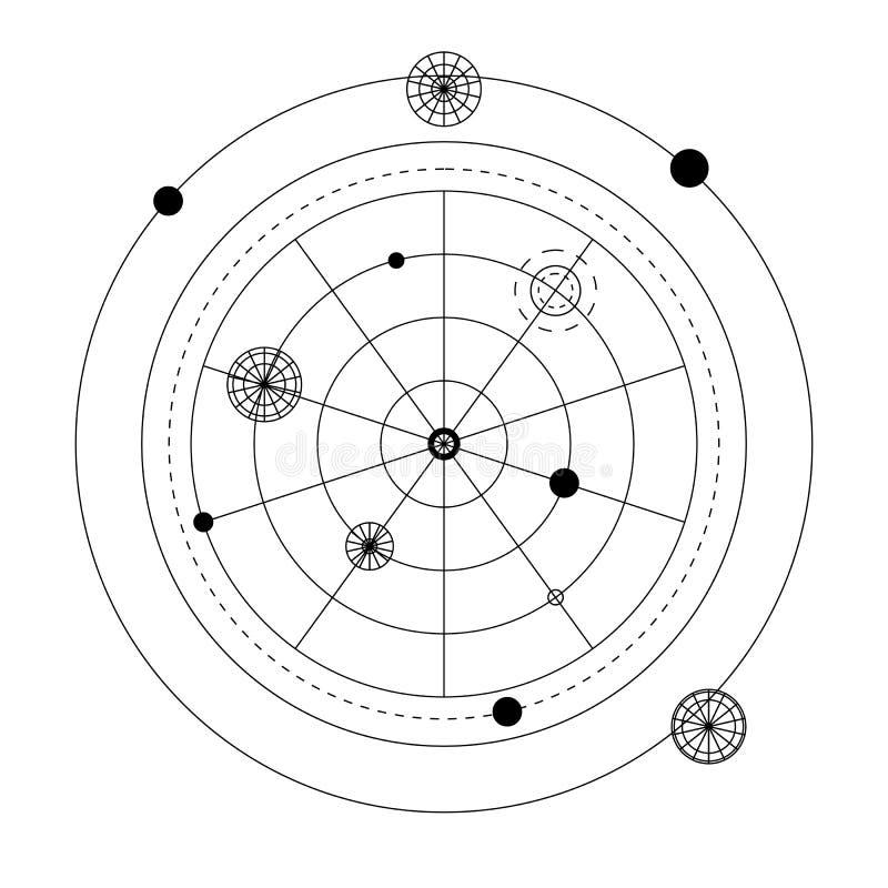 抽象神秘的几何标志 导航线性方术,隐密和哲学标志 皇族释放例证