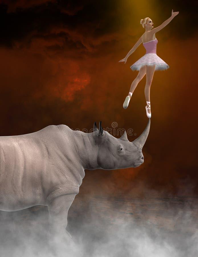 抽象秀丽,野兽,芭蕾舞女演员,舞蹈,犀牛 皇族释放例证