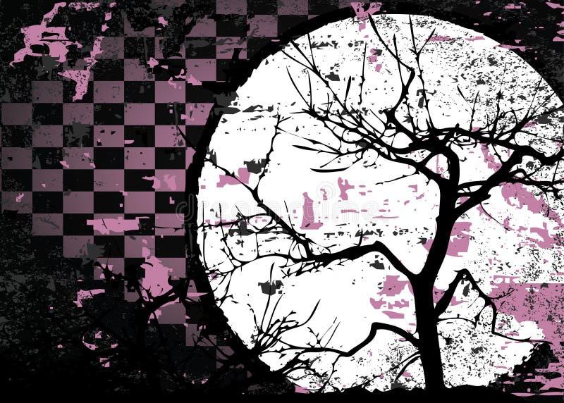 抽象秋天设计脏的光栅结构树 皇族释放例证