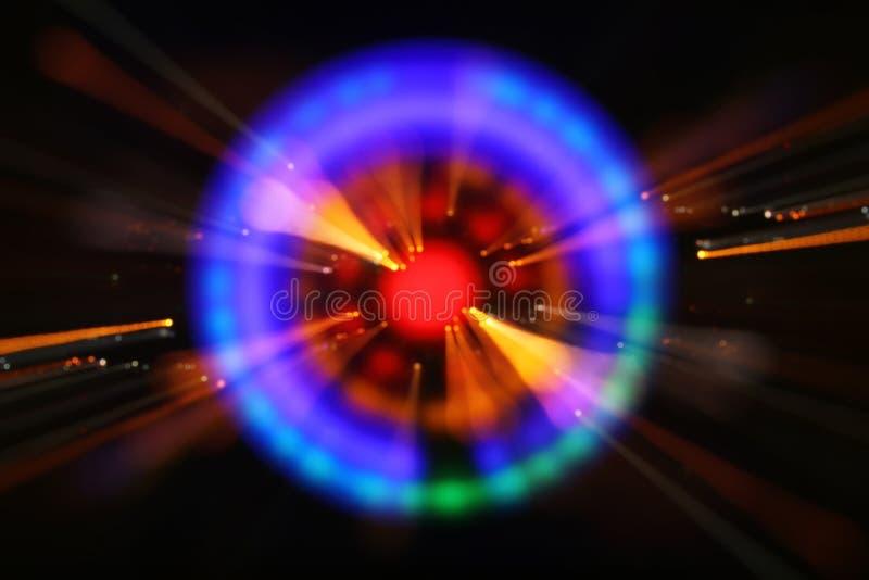 抽象科学小说未来派背景 透镜火光 空间或时间旅行的概念图象在明亮的光的 库存照片