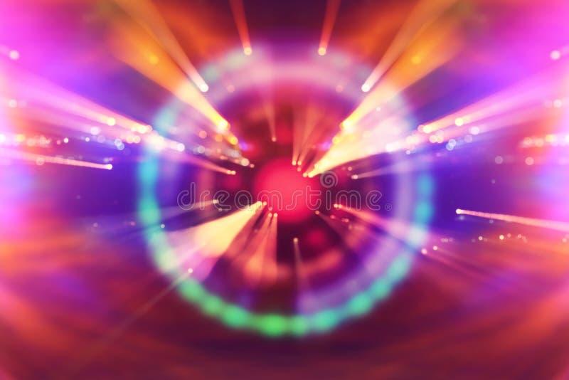 抽象科学小说未来派背景 透镜火光 空间或时间旅行的概念图象在明亮的光的 免版税图库摄影