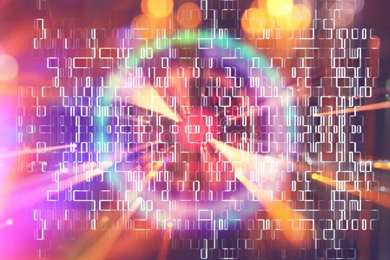 抽象科学小说未来派背景 透镜火光 空间或时间旅行的概念图象在明亮的光的 免版税库存图片
