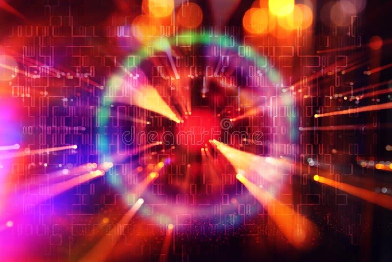 抽象科学小说未来派背景 透镜火光 空间或时间旅行的概念图象在明亮的光的 图库摄影
