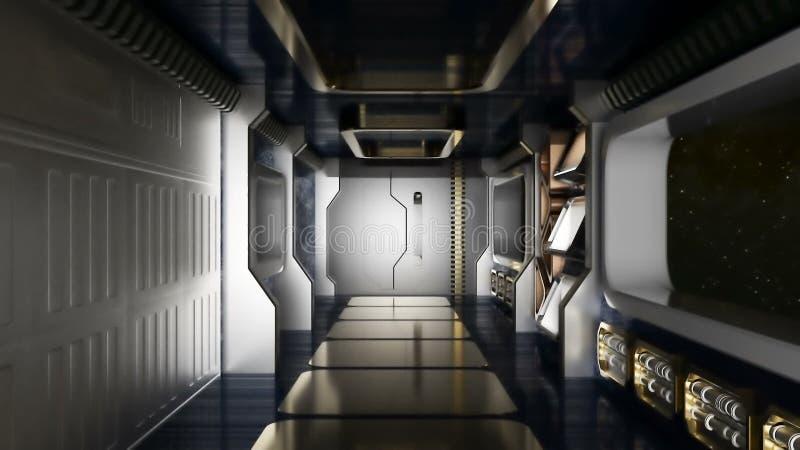 抽象科学幻想小说太空飞船走廊 免版税图库摄影