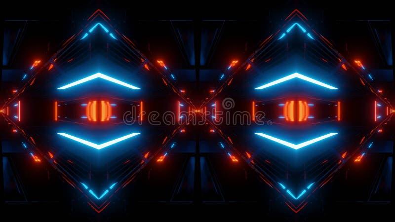 抽象科学幻想小说隧道反映与蓝色光 库存例证
